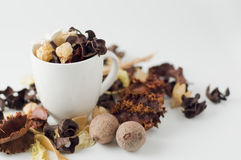 Coffee cup and potpourri. Still life photography Royalty Free Stock Photos
