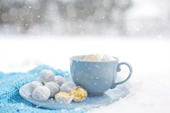 Coffee Cup, Powdered Sugar, Cup, Sky Stock Photos