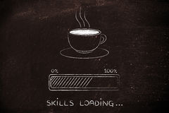 Coffee cup & progress bar loading skills. Coffee cup with funny progress bar Skills loading, awakeness-related concept Stock Photo