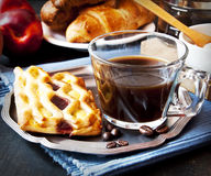 Coffee Cup and Pudding Pie Stock Photos