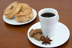 Coffee cup and puff pastry Stock Photo