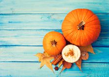 Coffee, pumpkin and spices Royalty Free Stock Image