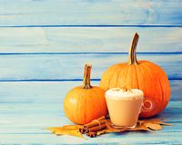 Coffee, pumpkins and spices Royalty Free Stock Photography