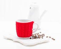 Coffee Cup in Red Cozy Royalty Free Stock Photography
