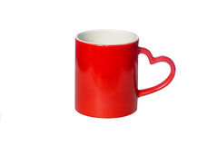 The coffee Cup red. With handle in shape of heart isolated on white background Royalty Free Stock Photography