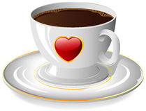 Coffee cup with red Heart Stock Photography