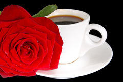 Coffee cup and red rose Royalty Free Stock Photo