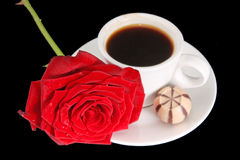 Coffee cup and red rose Royalty Free Stock Images