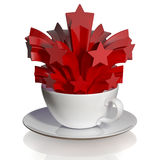 Coffee cup with red salute. Royalty Free Stock Photography