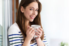coffee cup relaxing woman Στοκ Εικόνα