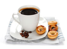 Coffee cup and roll Royalty Free Stock Photos