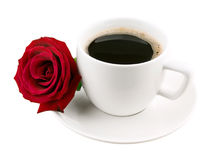 Coffee cup and rose Royalty Free Stock Images