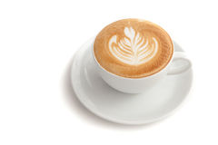 Coffee cup of rosetta latte art on white background isolated Stock Photography