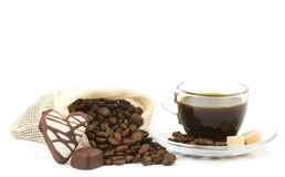 Coffee cup and sack of coffee beans Royalty Free Stock Photos