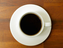 Coffee cup and saucer. From above looking down Royalty Free Stock Photography