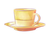 Coffee Cup with Saucer. Yellow coffee cup with saucer illustration Stock Photos