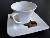 Coffee cup and saucer. Dirty dishes. Stock Photography