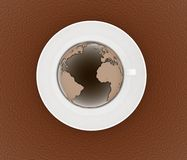 Coffee cup and saucer with a globe Stock Photography