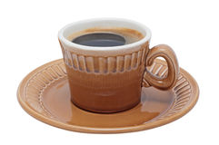 Coffee in cup on saucer isolated. Royalty Free Stock Photo