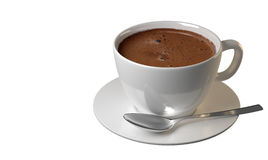 Coffee cup with saucer and silver spoon Royalty Free Stock Images