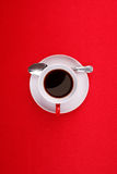 Coffee cup, saucer and spoon Stock Photo