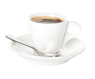 Coffee cup and saucer with a spoon. Isolated on a white background Stock Image