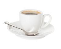 Coffee cup and saucer with a spoon. Isolated on a white background Royalty Free Stock Image