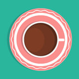 Coffee cup and saucer, top view Royalty Free Stock Image