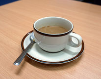 Coffee cup and saucer were drinking. Stock Photography