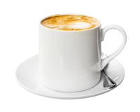 Coffee cup and saucer on white background Royalty Free Stock Photography