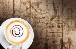 Coffee cup and saucer on wood background Royalty Free Stock Photography