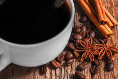 Coffee cup and saucer. On a wooden table Royalty Free Stock Photo