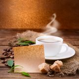 Coffee cup and saucer on  wooden table. Stock Photo