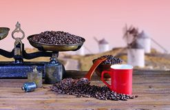 Coffee cup with scale and coffee beans. Stock Photography