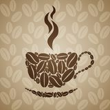 Coffee cup on seamless background with coffee beans. Royalty Free Stock Photography