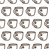 Coffee cup seamless pattern. Cute vector black and white coffee cup pattern. Seamless monochrome coffee cup pattern for Stock Photography