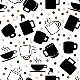 Coffee Cup Seamless Pattern Stock Photos