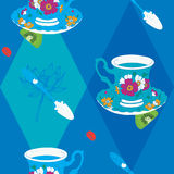 Coffee Cup Seamless Pattern with Spoon, Lotus Royalty Free Stock Image