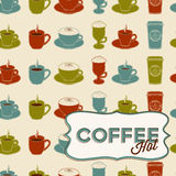 Coffee cup seamless pattern with tag Royalty Free Stock Image