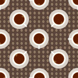 Coffee cup seamless pattern. Tea time vector illustration. Cup of coffee, the top view Royalty Free Stock Images