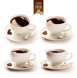 Coffee cup set with clipping path Royalty Free Stock Photography