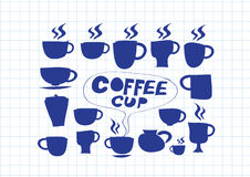 Coffee cup set hand drawing Stock Image
