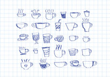 Coffee cup set hand drawing Royalty Free Stock Photo