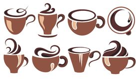 Coffee cup set. Tea cup. Vector icon collection. Stock Images