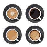Coffee cup set top view. Americano, latte, espresso, cappuccino, macchiato, mocha assortment isolated on white background. Vector illustration for web design Stock Illustration