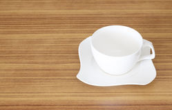 Coffee cup set top view on wooden desk Stock Images
