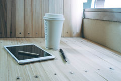 Coffee cup with  shutdown tablet, relax time Stock Images