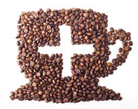 Coffee Cup with sight plus. From Coffee beans on white isolated background Royalty Free Stock Photo