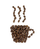 Coffee cup sign. Made of coffee seeds on the white Stock Images