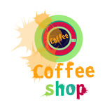 Coffee cup sign design background for shop. Coffee cup sign design background with splash Royalty Free Stock Photography